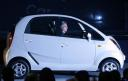 Ratan Tata in a Nano at the launch