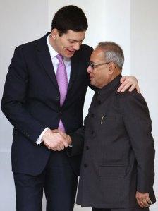 Miliband and Pranab Mukherjee
