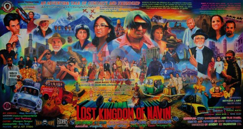 Lost Kingdom of Navin by Navin Rawanchaikul, a Thai-born Indian-Pakistani artist, depicting Indian art scene faces in a Bollywood billboard style – 6ftx11ft, £30,000-£40,000, at Christies