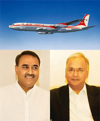 aviation minister Praful Patel and Arvind Jadhav of AI (Business Standard graphic)
