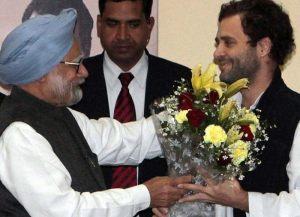 Manmohan Singh congratulating Rahul Gandhi yesterday