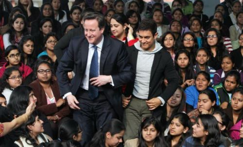 David Cameron with Bollywood star Aamir Khan and Delhi students
