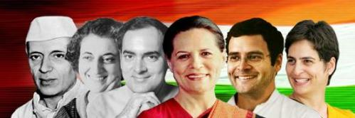 Jawaharlal Nehru and the Gandhis – his daughter Indira, her son Rajiv and his wife Sonia, and their son and daughter Rahul and Priyanka