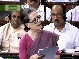 Sonia Gandhi in Parliament