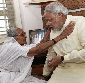 Modi and mother - Rediff