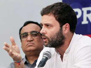 Rahul Gandhi watched byAjay Maken, a Congress gen secy, last Friday
