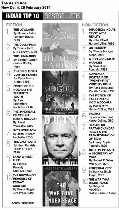Asian Age New Delhi bestseller list April 26 '14