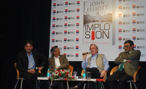 From the left, Vikram Chandra and Pramod Bhasin. Right, Swapan Dasgupta