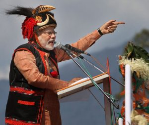 Narendra Modi in Arunachal Pradesh  wearing a the traditional dumluk headgear of the local Adi tribe