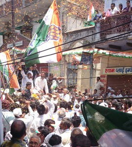 Rahul Gandhi in Varanasi on Saturday - photo Neeru Dhall