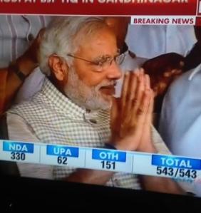 Narendra Modi acknowledging victory