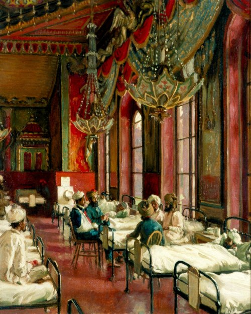 Temporary hospitals included Brighton's ostentatious oriental-style Royal Pavilion and The Dome,  where, some reports say, the auhtorities thought injured Indian troops might feel at home!