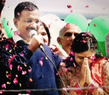 Kejriwal celebrates - PTI photo