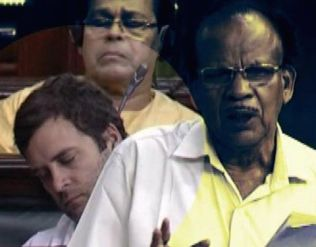 Rahul Gandhi, asleep during a Lok Sabha debate last July on inflation and price rises