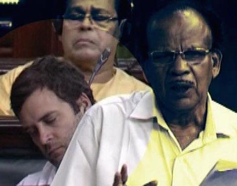 Rahul Gandhi, asleep during a Lok Sabha debate last July on inflation and price rises