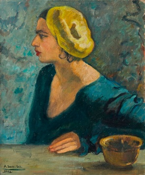 A self-portrait painted by Amrita Sher-Gil in 1931 when she was only 18 - sold at Christie's for £1.8m ($2.7m) including buyer's premium