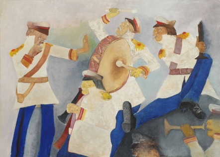 Krishen Khanna's 'Untitled' (Bandwallas in White and Blue), 2012