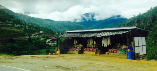 fruit stall on the road from Thimphu to Bhutan's airport at Paro