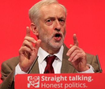 Jeremy Corby addressing the Labour Party conference yesterday