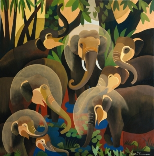 Elephants-2015-5-x-5ft-by-Artist-Senaka-Senanayake-presented-by-Grosvenor-Gallery-@-India-Art-Fair