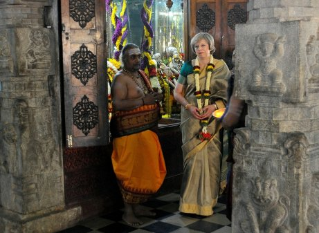 Britain's Prime Minister Theresa May visits the Someshwara Swamy temple in Bengaluru