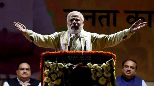 Prime Minister Narendra Modi addresses supporters