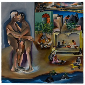 Bhupen Khakhar, Two Men in Benares, Oil o n canvas, 1982, est. £450,000-600,000