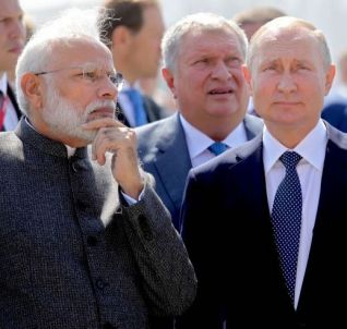 "Russian President Putin and Indian Prime Minister Modi visit the shipbuilding plant ""Zvezda"" outside Vladivostok"