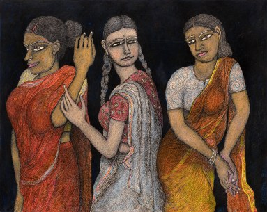 Jogen-Chowdhury-Three-Women-Ink-pastel-on-paper-56-x-71-cm-1992 Pundole