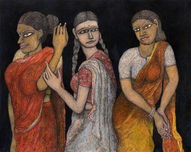 Jogen-Chowdhury-Three-Women-Ink-pastel-on-paper-56-x-71-cm-1992 Pundole