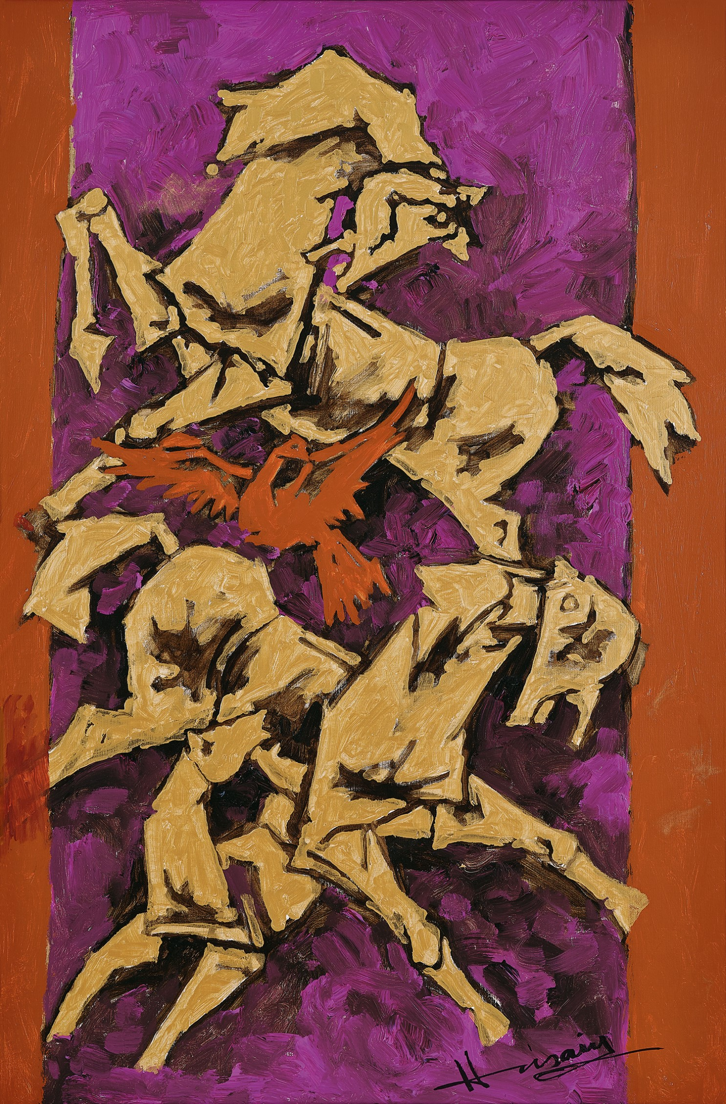 AstaG Lot 40 Husain, Untitled (Horses) circa 1990, Winning Bid - INR 1,64,38,507. Image couresty of AstaGuru.
