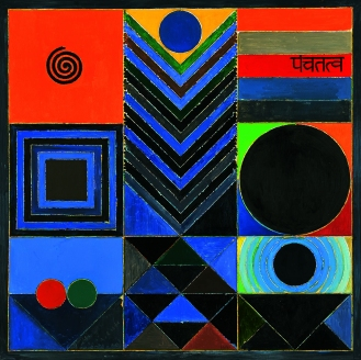 AstaG Lot 46 - S H Raza, Panch - Tatva, 1997, Winning Bid - INR 1,81,12,500. Image courtesy of AstaGuru